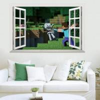"Наклейка-постер на стену ""Стив против скелета"" Minecraft"