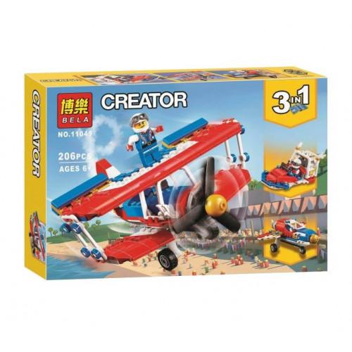 """Конструктор Bela 11045 Create """"Самолет для крутых трюков"""" 3 в 1"""