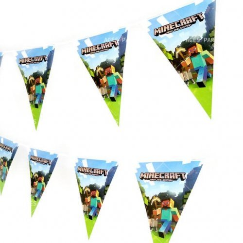 Купить Flag, Гирлянда-флажки Стив с киркой Minecraft, noname
