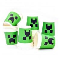 "Бумажные стаканы Minecraft ""Крипер"" - 10 шт."